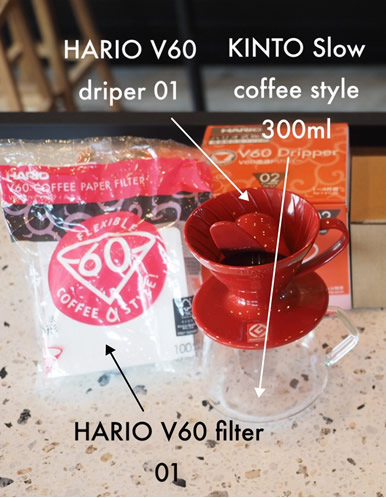 ■HARIO V60 Dripper 01■HARIO V60 Filter 01■KINTO Slow coffee style s02 coffee server 300ml